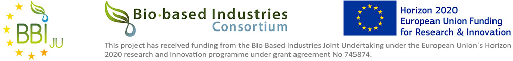 Logos of the funding bodies BBI-JU, Bio-based Industries Consortium and EU Horizon 2020